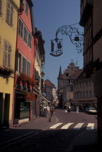 France, Colmar, Alsace, Haut-Rhin, Europe, wine region, Downtown Colmar, capital of Haut-Rhin, in the wine region of Alsace. : Stock Photo