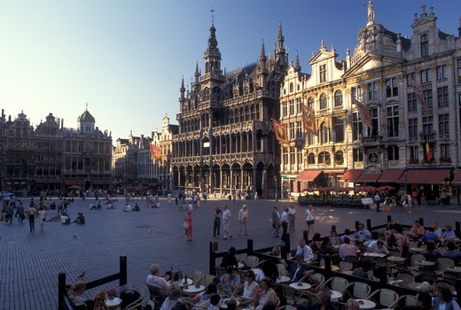 outdoor caf', Grand Place, Brussels, Bruxelles, Belgium, Europe, Outdoor caf' in Grand-Place (Grote Markt) in downtown Brussels. : Stock Photo
