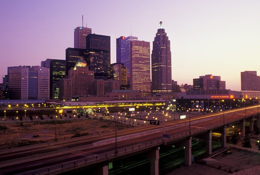 Stock Photo: 4286-20612 Toronto, Canada, Ontario, Skyline of downtown Toronto along Gardiner expressway in the evening.