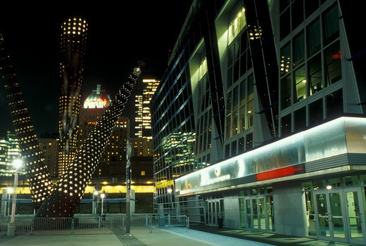 Toronto, arena, Canada, Ontario, Air Canada Centre at night in downtown Toronto.  : Stock Photo