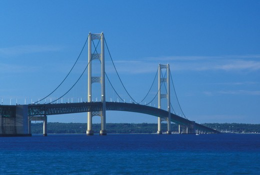 bridge, Mackinaw City, MI, Michigan, Upper Peninsula, View of Mackinac Bridge, a suspension span bridge, crosses the Straits of Mackinaw in Mackinaw City connecting the Lower Peninsula with the Upper Peninsula of Michigan. : Stock Photo