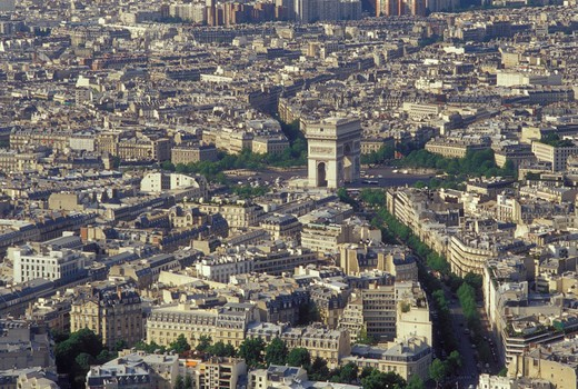 Stock Photo: 4286-20695 Paris, Ile de France, France, Europe, Aerial view of the city of Paris and the Arc de Triomphe looking North from the Eiffel Tower.