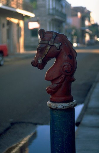 HITCHING POST IN THE FRENCH QUARTER NEW ORLEANS LOUISIANA : Stock Photo