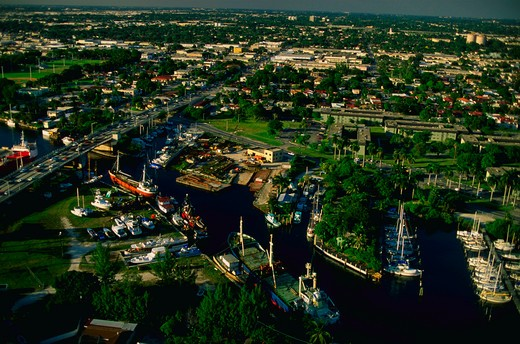 Aerial view of downtown Miami along the Miami River in Florida. : Stock Photo