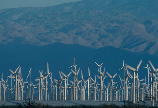 Modern electricity generating windmills in a wind farm near Palm Springs, California. : Stock Photo