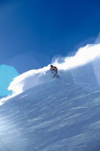 Stock Photo: 4286-22247 A man skiing powder at Sugar Bowl, CA.