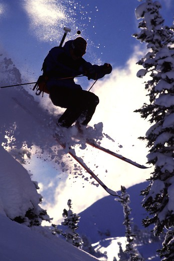 A man skiing powder snow in the Wasatch mountains of Utah. : Stock Photo