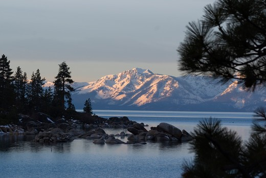 Lake Tahoe and Mt. Tallac at dawn from the east shore : Stock Photo
