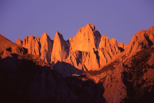 Mount Whitney at sunrise in the Sierra mountains in California at sunset. : Stock Photo