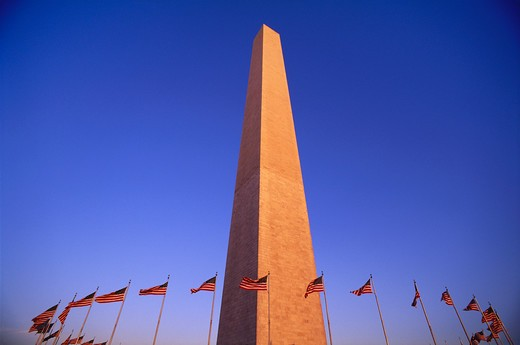 Stock Photo: 4286-23147 Washington Monument surrounded by a circle of US flags U S A Washington DC