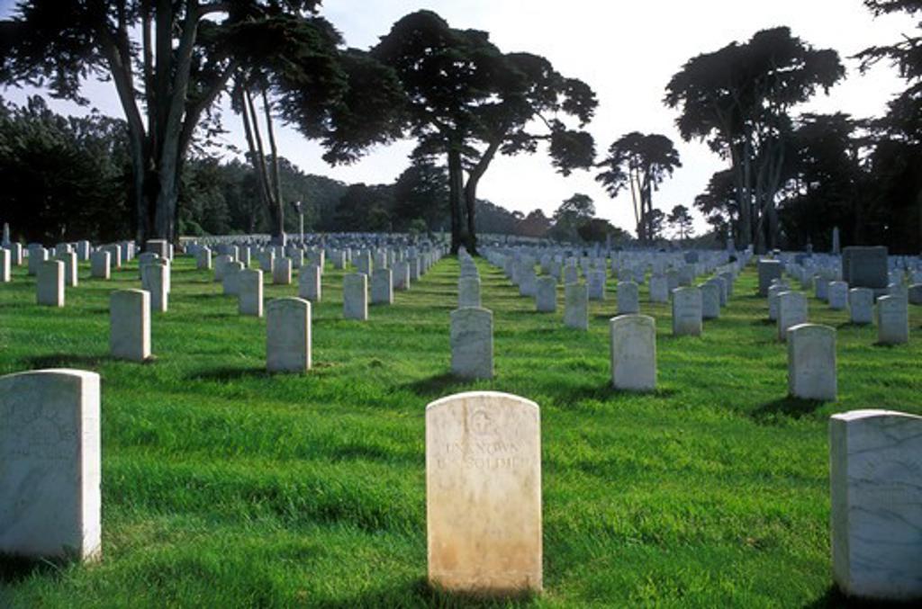 Stock Photo: 4286-23192 USA, California, San Francisco, The Presidio, San Francisco National Cemetery, Tomb Unknown US Soldier