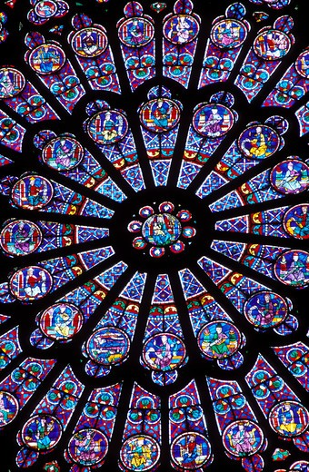 Stock Photo: 4286-23276 France Paris Notre Dame North Rose Window 13th century stained glass window depicting the Virgin Mary encircled by figures of