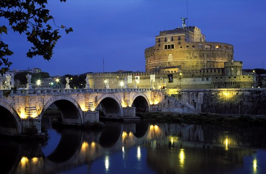 Italy Rome Castel Sant Angelo and Ponte San Angelo reflecting in the Tiber River at dawn : Stock Photo