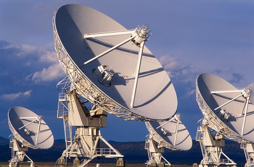 Stock Photo: 4286-23490 USA New Mexico Socorro Very Large Array worlds largest radio telescope VLA