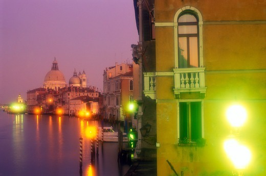 Italy Venice The Grand Canal with Santa Maria della Salute illuminated at night : Stock Photo