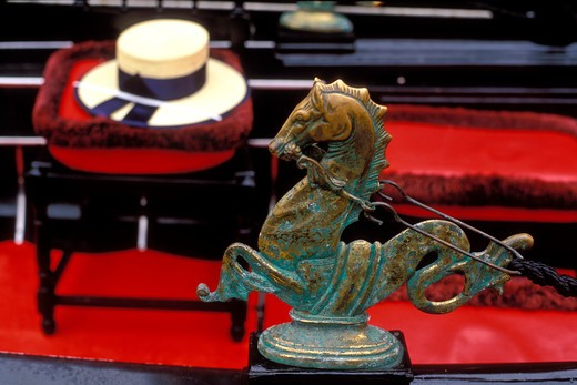 Stock Photo: 4286-23735 Italy Venice Gondola detail hat and of brass seahorse