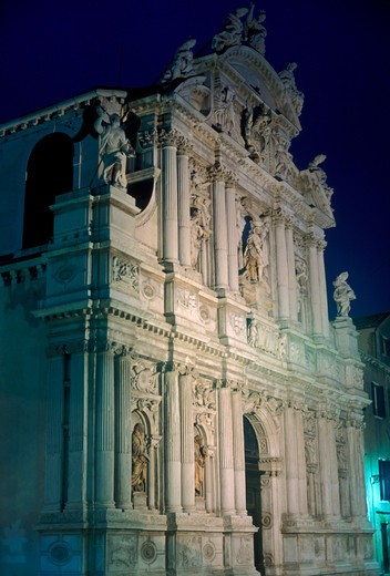 Stock Photo: 4286-23799 Italy Venice Santa Maria Zobenigo church facade illuminated at night
