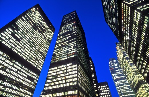 Stock Photo: 4286-23902 Canada, Ontario, Toronto. office towers in the financial district illuminated at night