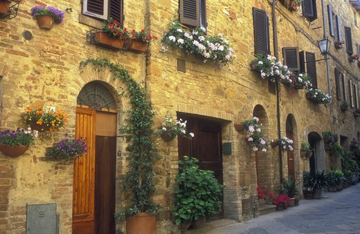 Italy, Pienza, Tuscany, hanging flower baskets along a brick wall with doorways : Stock Photo