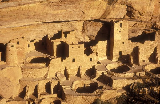 Stock Photo: 4286-24082 USA, Colorado, Mesa Verde National Park, Cliff  Palace, cliff dwellings of the Anasazi A.D. 1200