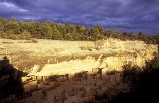 Stock Photo: 4286-24085 USA, Colorado, Mesa Verde National Park, Cliff Palace, cliff dwellings of the Anasazi A.D. 1200