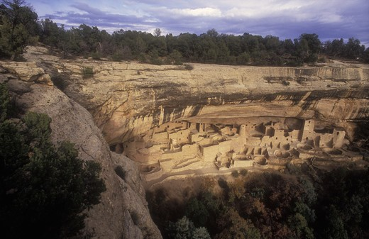 Stock Photo: 4286-24088 USA, Colorado, Mesa Verde National Park, Cliff Palace, cliff dwellings of the Anasazi A.D. 1200