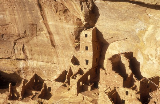 Stock Photo: 4286-24092 USA, Colorado, Mesa Verde National Park, Square Tower House, cliff dwellings of the Anasazi A.D. 1200
