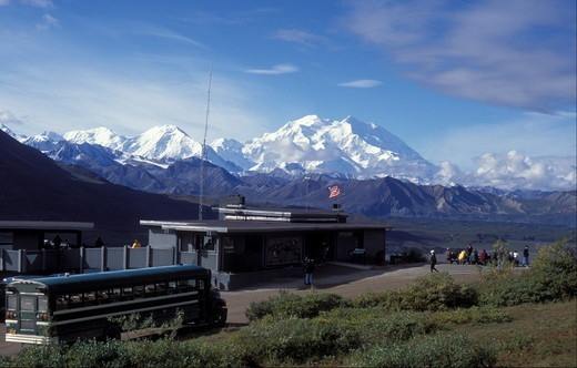 USA, Alaska, Denali National Park,  Park Road,  Eielsen Visitor Center and Denali : Stock Photo
