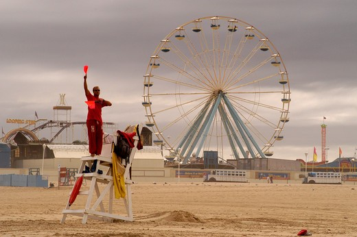 Stock Photo: 4286-24611 Ferris wheel and lifeguard at Ocean City, Maryland