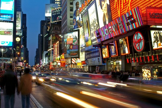 New York City, New York, Times Square at night : Stock Photo