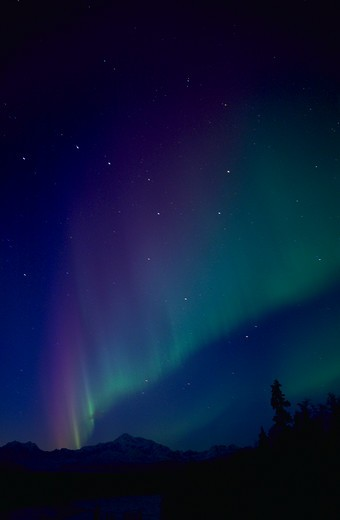 A blue and green Aurora Borealis at dusk with the Big Dipper  and Mount McKinley at Trapper Creek, Alaska. : Stock Photo