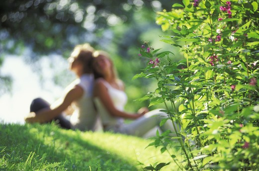 Stock Photo: 4286-25341 Couple sharing romantic summer moments like splendor on the grass
