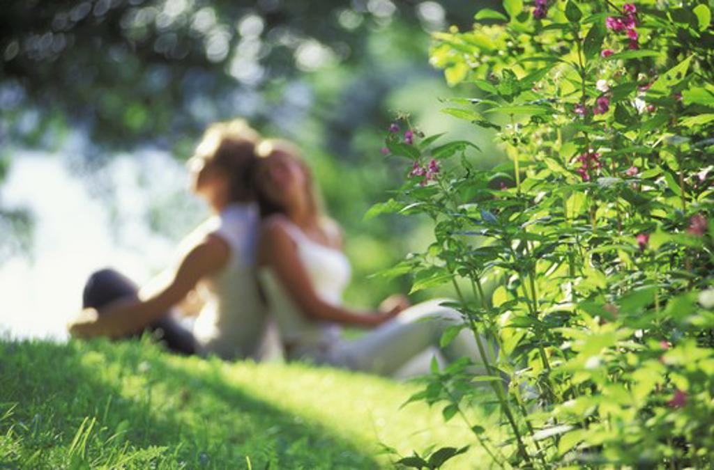 Couple sharing romantic summer moments like splendor on the grass : Stock Photo