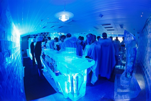 Stock Photo: 4286-25628 Having cocktails at Ice Bar in Nordic Light Hotel in Stockholm