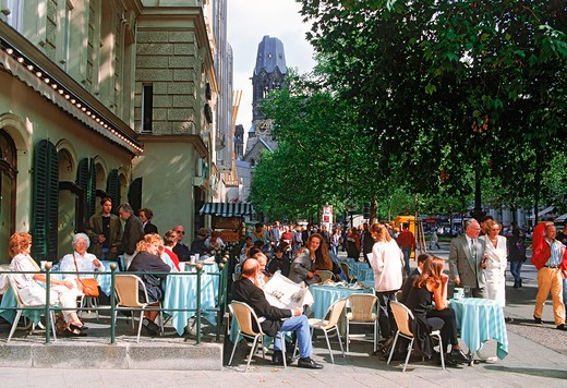 Stock Photo: 4286-25866 Sidewalk cafes near Kaiser Wilhelm Memorial Church in Berlin