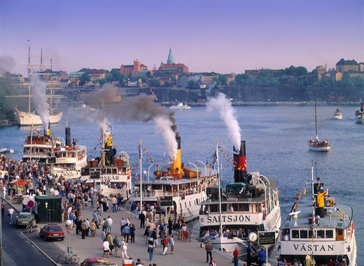 Passengers and steamships on Archipelago Boat Day in Stockholm  : Stock Photo