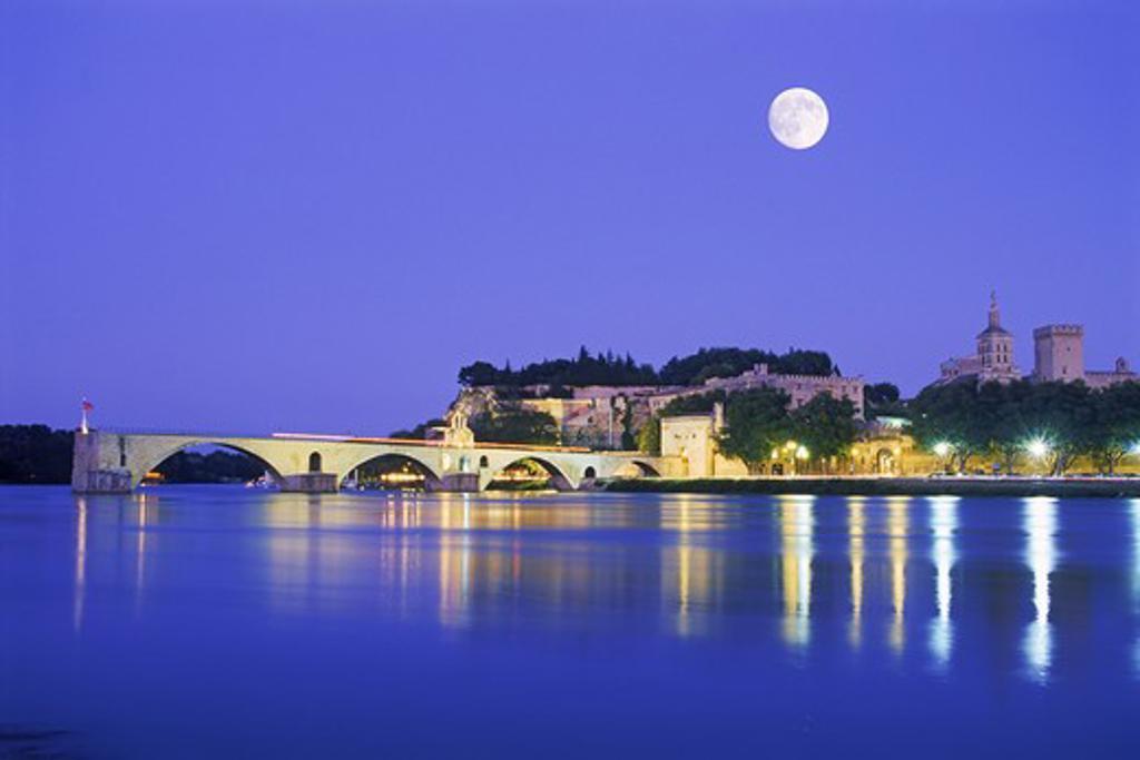 Moon over Saint B'n'zet Bridge and Rhone River at Avignon France  : Stock Photo