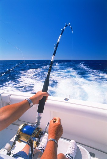 Stock Photo: 4286-27064 Deep sea fishing off Kona Coast of Hawaii