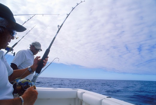 Stock Photo: 4286-27069 Deep sea fishing off Kona Coast of Hawaii