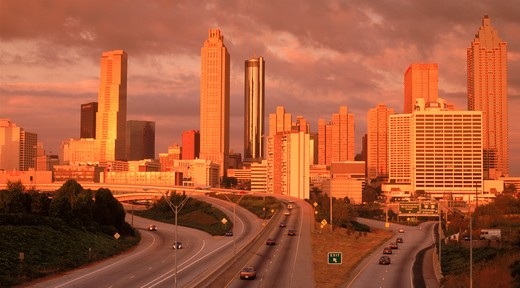 Stock Photo: 4286-27652 Atlanta skyline in sunset light above highways Georgia  USA