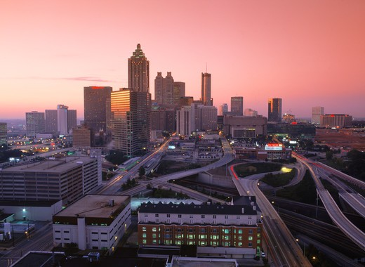 Stock Photo: 4286-27741 Atlanta Civic Center at dawn Georgia  USA