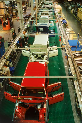 Stock Photo: 4286-27748 View from above trim line at Volvo Torslanda Plant near Goteborg, Sweden