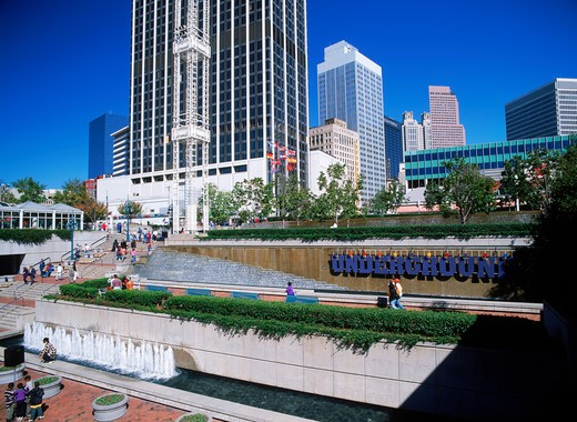 Stock Photo: 4286-27787 Shops, murals, plazas and fountains in area of Atlanta called Underground
