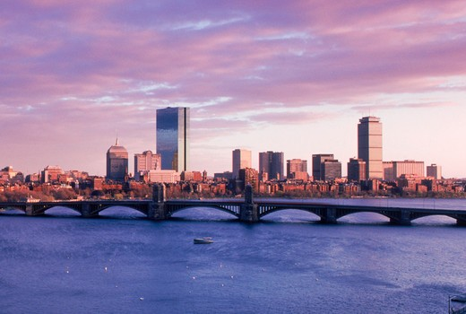 Charles River with Longfellow Bridge and Boston skyline : Stock Photo