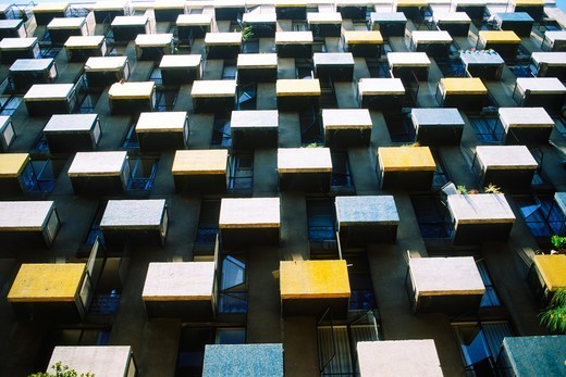 Stock Photo: 4286-27948 City highrise apartment balconies like human cells or boxes