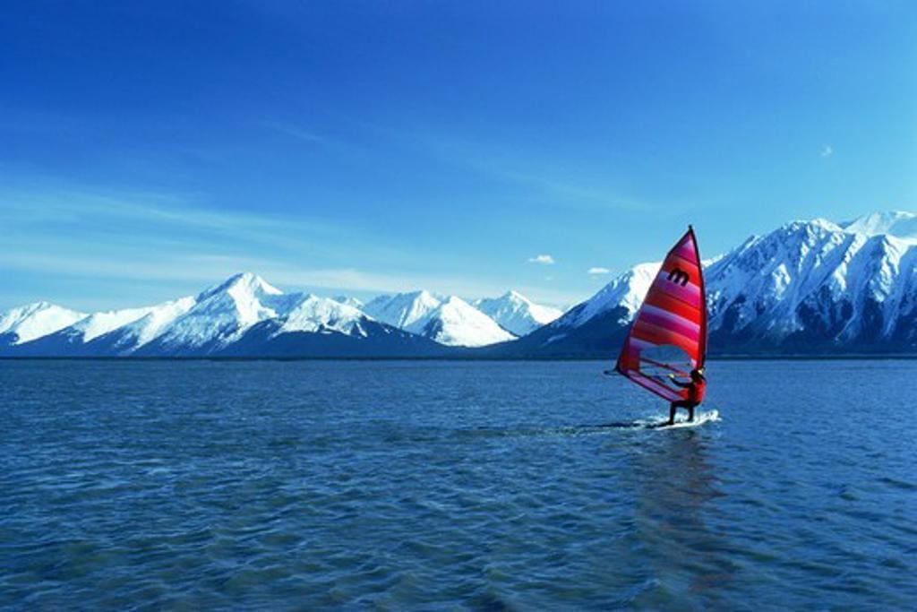 Windsailing at Turnagain Arm off Cook Inlet on Kenai Peninsula in Alaska : Stock Photo