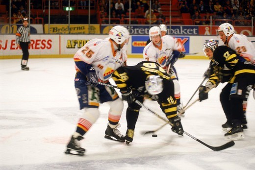 Stock Photo: 4286-28815 Professional ice hockey match between Djurgarden and AIK at Globen Arena in Stockholm