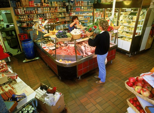 Stock Photo: 4286-29008 Variety of sea food and vegetables in small Stockholm corner market
