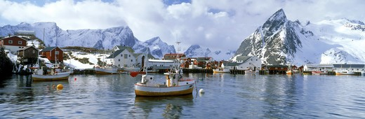 Stock Photo: 4286-29055 Fishing boats anchored at village of Hamnoy on Moskenes Island in Lofotens off  Northern Norway