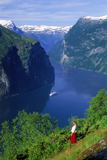 Stock Photo: 4286-29068 Cruise ship approaching Geiranger on Geirangerfjord along Norwegian coast